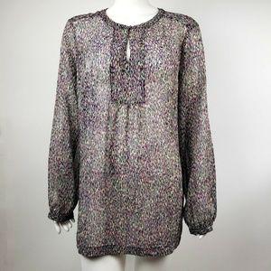 LIZ CLAIBORNE Multicolored Sheer Blouse XL